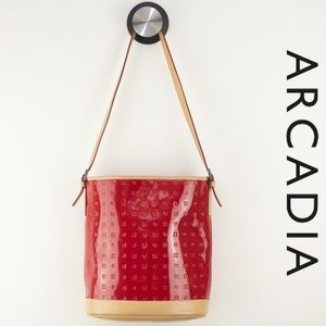 Arcadia Red Patent Logo Print Shoulder Bag Leather